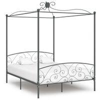 vidaXL Cadru de pat cu baldachin, gri, 180 x 200 cm, metal