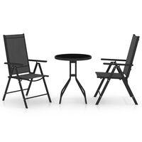 vidaXL Set mobilier bistro, 3 piese, negru, aluminiu și textilenă