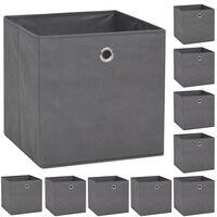 vidaXL Cutii de depozitare, 10 buc, material nețesut, 32x32x32 cm, Gri