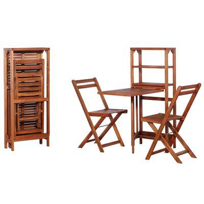 vidaXL Set mobilier bistro pliabil, 3 piese, lemn masiv de acacia