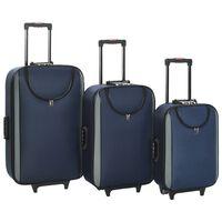 vidaXL Valize cu carcasă flexibilă, 3 buc., bleumarin, textil oxford