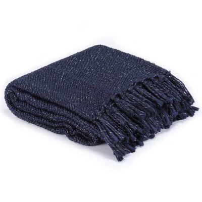vidaXL Pătură decorativă, bleumarin, 160 x 210 cm, lurex
