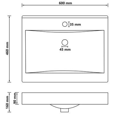 vidaXL Chiuvetă baie lux, orificiu robinet negru mat 60x46 cm ceramică