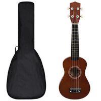"""vidaXL Set ukulele soprano, cu husă, pentru copii, 21"""", lemn"""