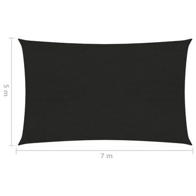 vidaXL Pânză parasolar, negru, 5x7 m, HDPE, 160 g/m²
