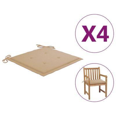 vidaXL Perne scaun de grădină, 4 buc., bej, 50x50x4 cm, textil