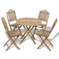 vidaXL Set mobilier de exterior pliabil, 5 piese, bambus