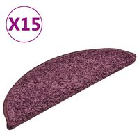 vidaXL Covorașe pentru trepte scară, 15 buc. violet închis, 56x17x3 cm