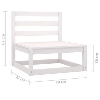vidaXL Canapea de mijloc pentru grădină, alb, lemn masiv de pin