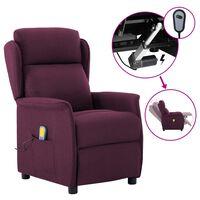 vidaXL Electric Massage Recliner Purple Fabric (289793+327164)