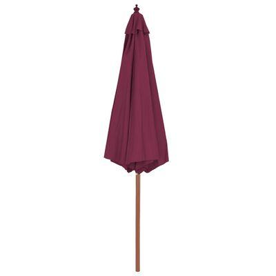 vidaXL Umbrelă de soare exterior, stâlp din lemn, 300 cm, roșu bordo
