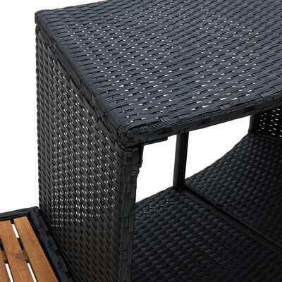 vidaXL Mobilier de împrejmuire spa, negru, poliratan și lemn de acacia