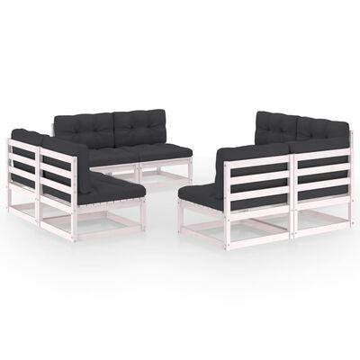 vidaXL Set mobilier de grădină cu perne, 8 piese, lemn masiv de pin