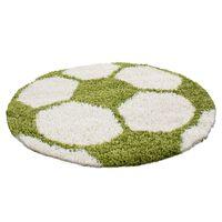 Covor Decorino Shaggy Fotbal, Rotund, Verde, 120x120