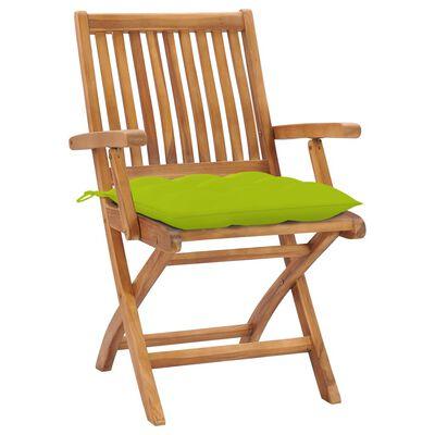 vidaXL Scaune grădină cu perne verde aprins, 2 buc., lemn masiv de tec