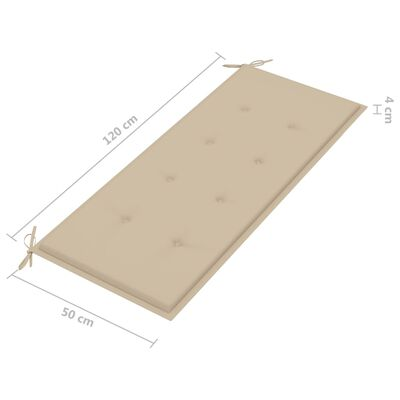 vidaXL Bancă de grădină, pernă bej, 120 cm, lemn masiv tec