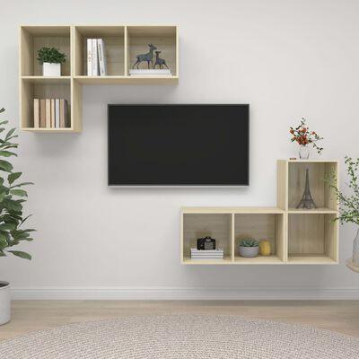 vidaXL Dulapuri TV montate pe perete, 4 buc., stejar sonoma, PAL
