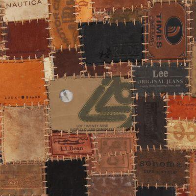 vidaXL Covor Piele naturală Colaj etichete jeans 120x170 cm Maro