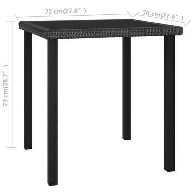 vidaXL Masă de grădină, negru, 70x70x73 cm, poliratan