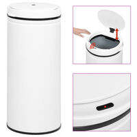vidaXL Coș de gunoi automat cu senzor, 80 L, alb, oțel carbon