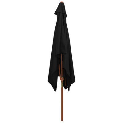 vidaXL Umbrelă de soare, exterior, stâlp lemn, negru, 200x300 cm