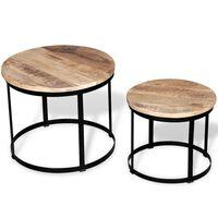 vidaXL Set măsuțe cafea rotunde, lemn mango rugos, 2 buc, 40 cm/50 cm