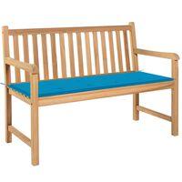 vidaXL Bancă de grădină, pernă albastru, 120 cm, lemn masiv tec
