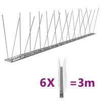 vidaXL Set bandă cu țepi antipăsări cu 2 rânduri, 6 buc., oțel, 3 m