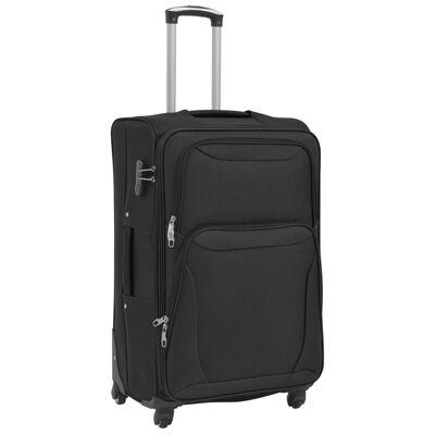 vidaXL Set de valize din material textil, 3 piese, negru