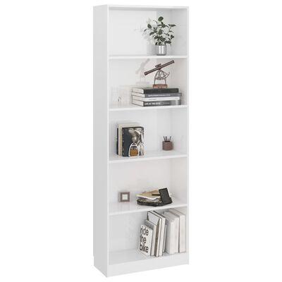 vidaXL Bibliotecă cu 5 rafturi, alb extralucios, 60 x 24 x 175 cm, PAL
