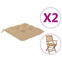 vidaXL Perne de scaun, 2 buc., bej, 40 x 40 x 7 cm, textil