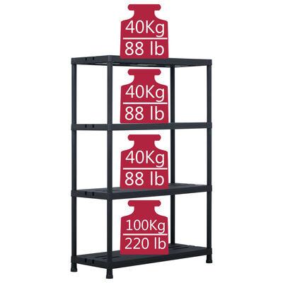 vidaXL Rafturi de depozitare 2 buc. negru 90x40x138 cm plastic 220 kg