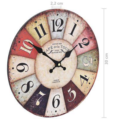 vidaXL Ceas de perete vintage, 30 cm, colorat