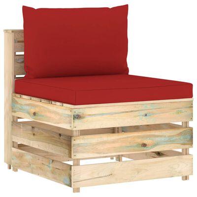 vidaXL Set mobilier de grădină cu perne, 7 piese, lemn verde tratat