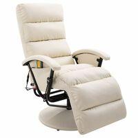 vidaXL Fotoliu de masaj rabatabil pentru TV alb crem piele ecologică