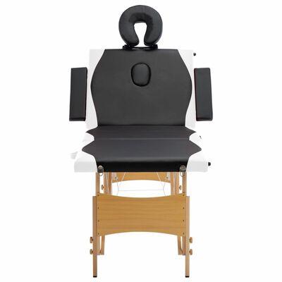 vidaXL Masă pliabilă de masaj, 4 zone, negru și alb, lemn