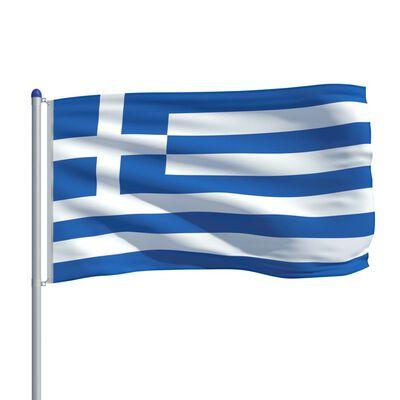 vidaXL Drapel Grecia și stâlp din aluminiu, 6 m