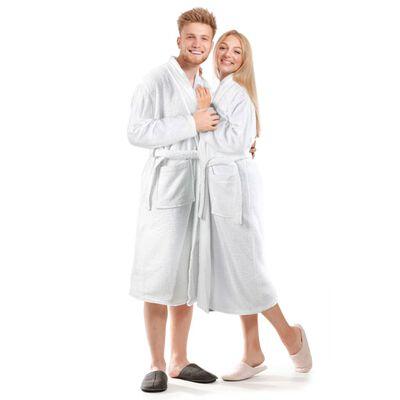 vidaXL Halat de baie unisex Terry,  alb, bumbac 100%, mărime XL