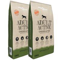 vidaXL Hrană uscată câini Adult Active Chicken & Fish 2 buc. 30 kg