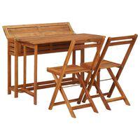 vidaXL Masă cu jardinieră de balcon cu 2 scaune bistro, lemn de acacia