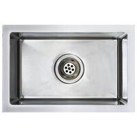 vidaXL Chiuvetă de bucătărie lucrată manual cu sită, oțel inoxidabil