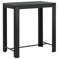 vidaXL Masă de bar de grădină, negru, 100 x 60,5 x 110,5 cm, poliratan