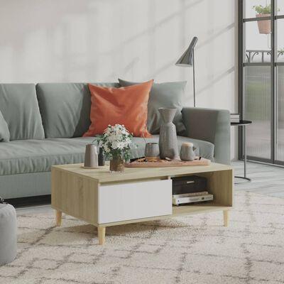 vidaXL Măsuță de cafea, alb și stejar Sonoma, 90x60x35 cm, PAL