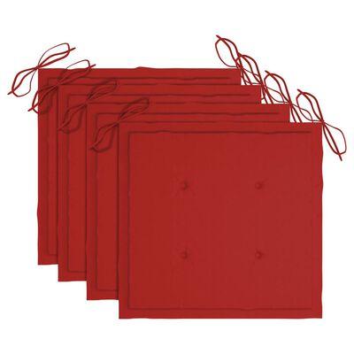 vidaXL Scaune de grădină cu perne, 4 buc., roșu, lemn masiv de tec