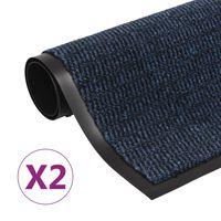 vidaXL Covoare ușă anti-praf, 2 buc. albastru, 60x90 cm dreptunghiular