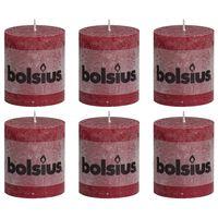 Bolsius Lumânări bloc rustice, 6 buc., roșu vin, 80 x 68 mm