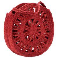 vidaXL Geantă de umăr rotundă cu găuri roșu arămiu iută lucrată manual