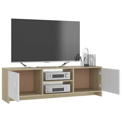 vidaXL Comodă TV, alb și stejar Sonoma, 120x30x37,5, PAL