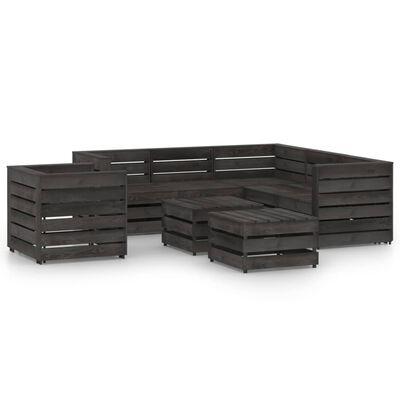 vidaXL Set mobilier de grădină, 8 piese, gri, lemn de pin tratat