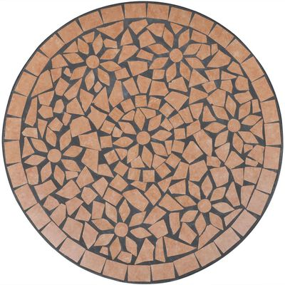 vidaXL Set mobilier bistro, 3 piese, cărămiziu, plăci ceramice